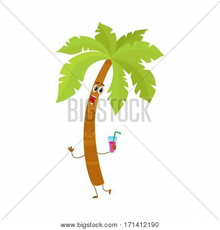 Funny tropical palm tree character holding a cocktail glass, cartoon vector illustration isolated on white background.