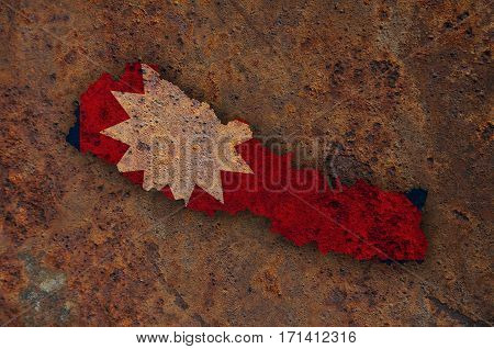 Map And Flag Of Nepal On Rusty Metal