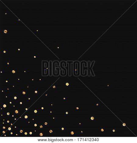 Sparse Gold Confetti. Scattered Bottom Left Corner On Black Background. Vector Illustration.