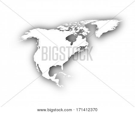 Map Of North America With Shadow