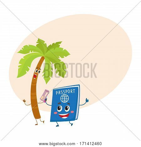 Funny palm tree and passport characters, travelling, summer vacation symbol, cartoon vector illustration with place for text. Palm tree and passport characters, mascots, holiday concept