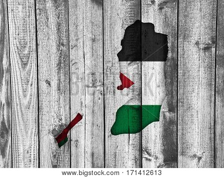 Map And Flag Of Palestine On Weathered Wood