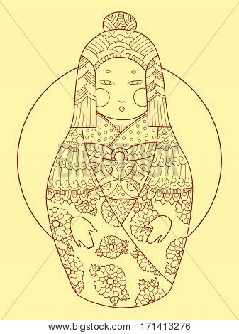 Matryoshka japan style hand drawn vector illustration. Black and white lines. Lace pattern