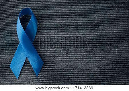 Prostate cancer awareness blue ribbon. Men healthcare concept