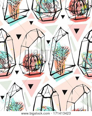 Hand drawn vector abstract seamless pattern with rough terrarium and succulent plants in pastel colors isolated on white bakground.Design for decorationfashionfabricsave the datescandinavian decor