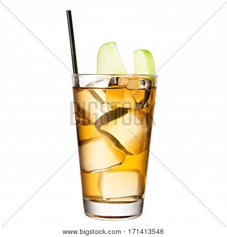 classic alcohol cocktail with apple juice isolated on white background
