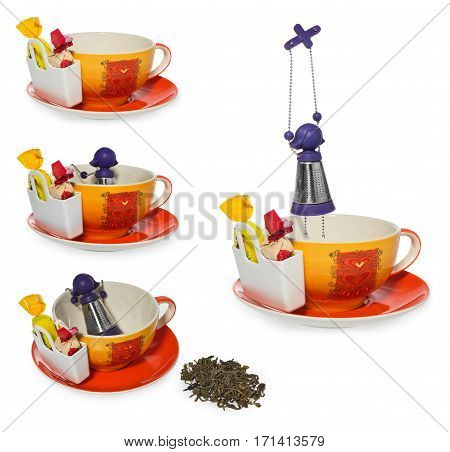 Empty coffee, tea cup with purple silver infuser in the shape of a girl on a chain. Storage on candy and two sweets, spilled tea. Cup and saucer decorated with hearts in color yellow, orange, red. Container for sweetmeats  in white. Candy in yellow, cream