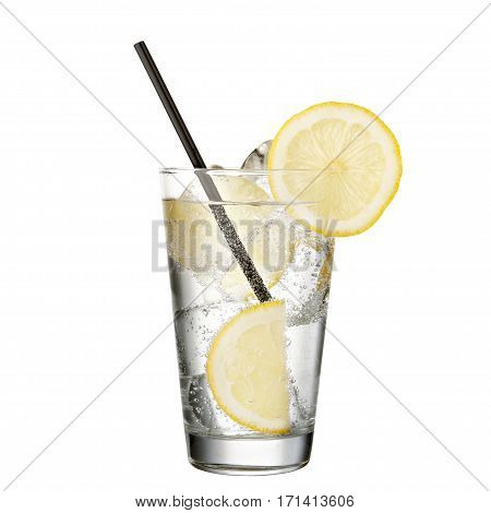 gin and tonic with lemon isolated on white background classic alcohol cocktail