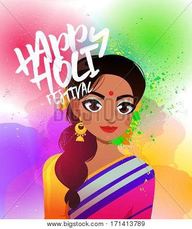 Young Indian woman in a sari on the background of colorful gulal, powder color. Traditional spring indian festival Holi in vector format.