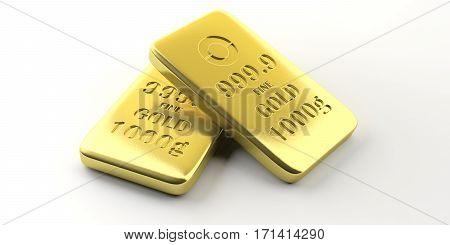 Gold Bullion Bars On White Background. 3D Illustration