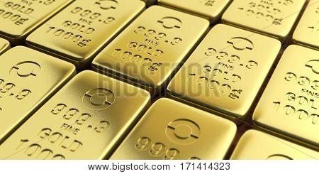 Gold Bullion Bars Background. 3D Illustration