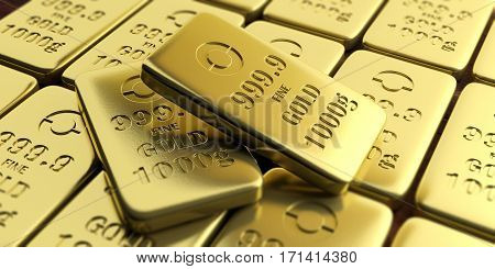 Gold Bullion Bars Background. 3D Illustration