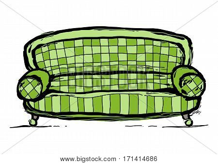 Old green sofa upholstered in a plaid fabric. Graphic arts. On a white background