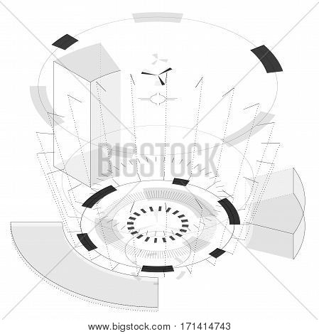 Abstract round composition with circles in isometric perspective. Transparent fill up screen and monitor. Props for filming. Isolated central wheels. Subtle mechanic gears on white. Vector background.