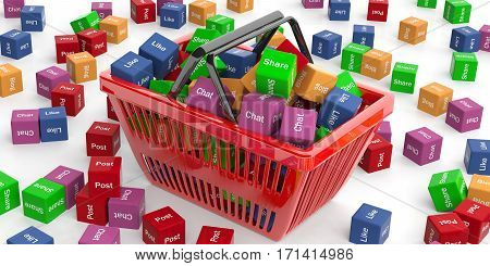 Social Media Words In A Shopping Basket. 3D Illustration