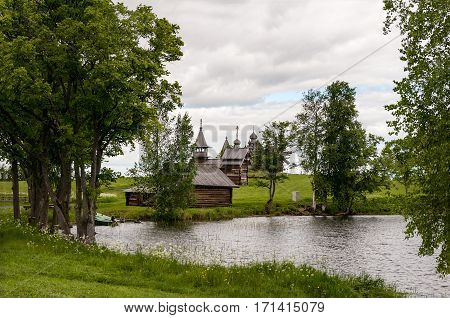 wooden churches and chapels in Kizhi on the Onega lake coast in the Gulf