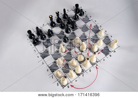 White strategy board with chess figures on it. Plan of battle