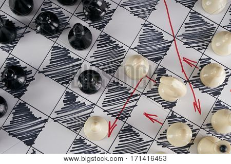 White strategy board with chess figures on it. Plan of battle. Close up Top view