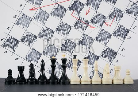 Set of black and white chess in classic design and strategy board on background