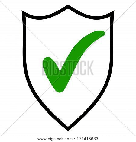 Shield check mark logo icon design template elements. Quality is confirmed sign line icon for web, mobile and infographics. Vector  Shield check mark