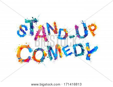 Stand up comedy. Vector watercolor splash paint