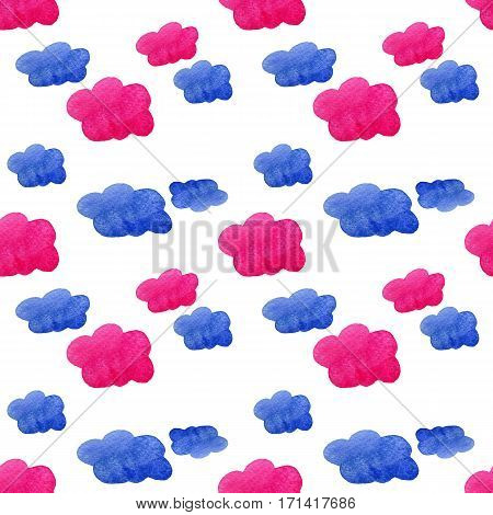 Blue and pink watercolor clouds background. Hand painted watercolor clouds isolated on white. Blue and pink sky cloud. Watercolor drawing.