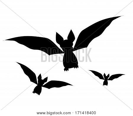 Bats set icon. Vector illustration. Black silhouette of a bat