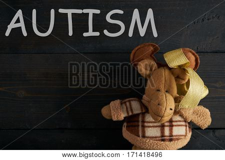Word AUTISM and Soft toy moose on wooden texture background. Copy space