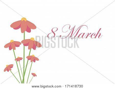 Postcard to March 8. Vector illustration. hollidays postcard