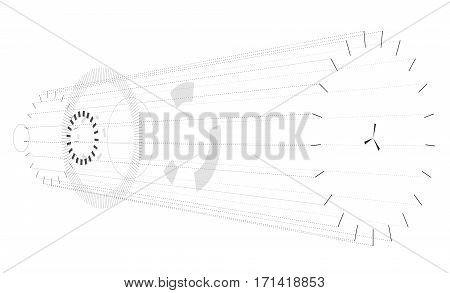 Abstract horizontal composition on white background. Vague circular composition in isometric perspektive. Subtle vector background composed of circles and ellipses. Isolated transparent mechanic gears