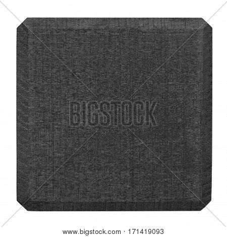 Black wooden block isolated on white. Flat lay