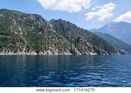 Mount Athos, Holy Mountain, Halkidiki, Greece. View from the sea.