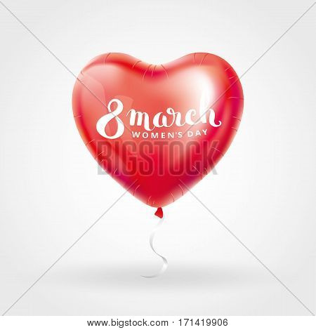 Heart red balloon 8 march womens day. Frosted party balloons event design. Balloons isolated in the air. Party decorations for , celebration, love. Shine metallic pink balloon. Eight march day