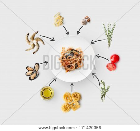 Cooking italian food, seafood pasta, isolated on white. Frutti di mare with fettuccine spaghetti. Mussels, prawn, shrimp, calamari rings and other ingredients around plate with dish