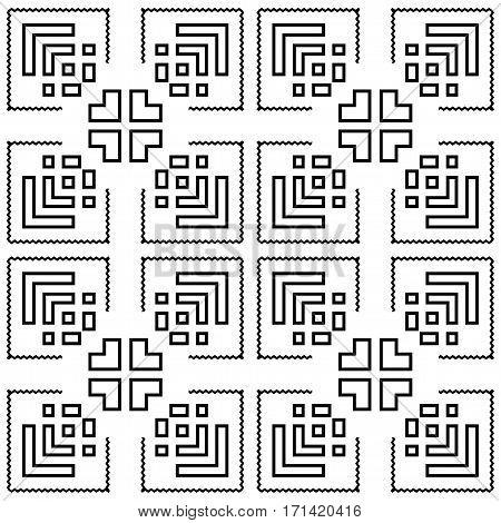 Black repeated stylized rhombuses on white background. Polygonal wallpaper. Seamless surface pattern design symmetrical ornament. Geometrical motif. Digital paper for print. Vector art illustration