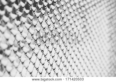 Black and white art photography monochrome lattice fence covered with snow. Winter time. Heavy snowfall.