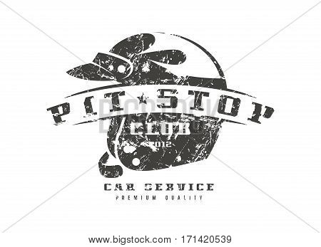 Car Pit Stop Badge With Shabby Texture