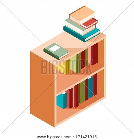 Vector image of the Book shelves isometric icon