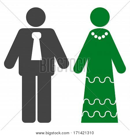 Newlyweds flat icon. Vector bicolor green and gray symbol. Pictograph is isolated on a white background. Trendy flat style illustration for web site design, logo, ads, apps, user interface.