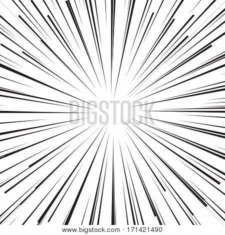 Abstract cartoon comic book flash explosion radial lines background. Vector illustration for superhero design. Bright black white light strip burst. Flash ray blast.