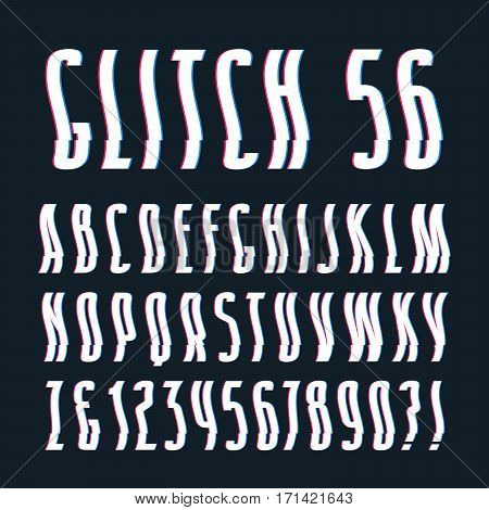 Decorative sanserif font with glitch wavy and shifted effect. Isolated on black background