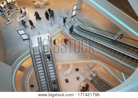 Modern escalator in the shopping mall