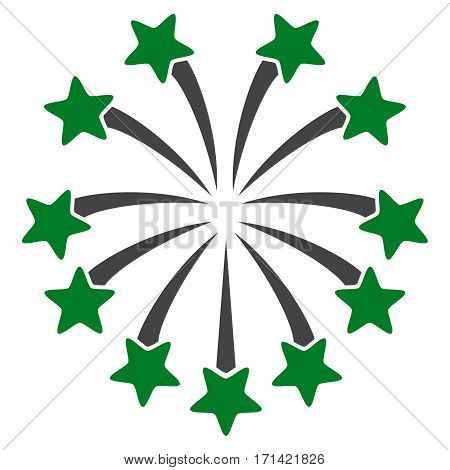 Spherical Fireworks flat icon. Vector bicolor green and gray symbol. Pictogram is isolated on a white background. Trendy flat style illustration for web site design, logo, ads, apps, user interface.