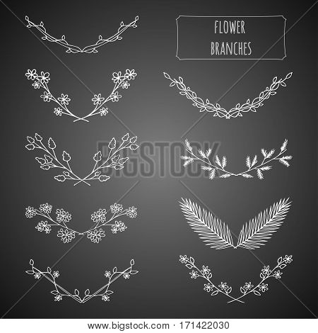 Hand drawn floral set made in vector. Flower branches collection design. Illustration of laurels, banners, floral elements, tribal and ethnic design. Greeting card and t-shirt design template.