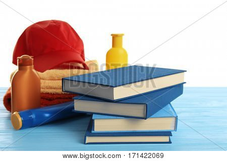 Set for reading at beach. Summer holidays concept