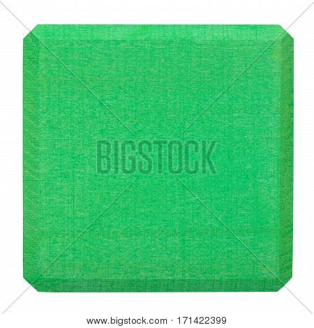 Green wooden block isolated on white. Flat lay