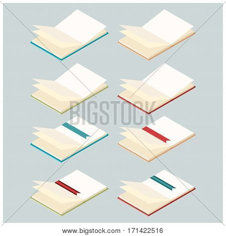 Vector image of the Set of opened isometric books
