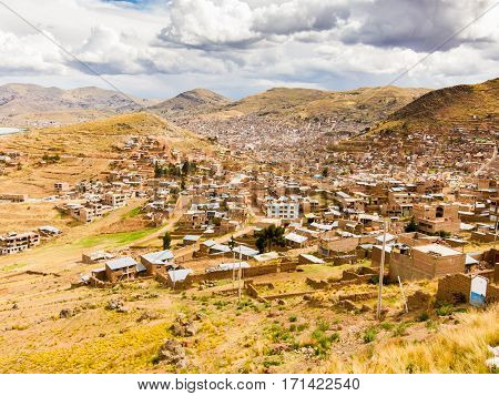 View over Puno with dramatic sky, Bolivia