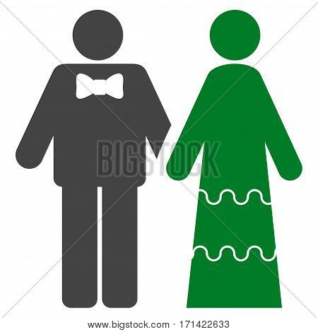 Wedding Persons flat icon. Vector bicolor green and gray symbol. Pictogram is isolated on a white background. Trendy flat style illustration for web site design, logo, ads, apps, user interface.