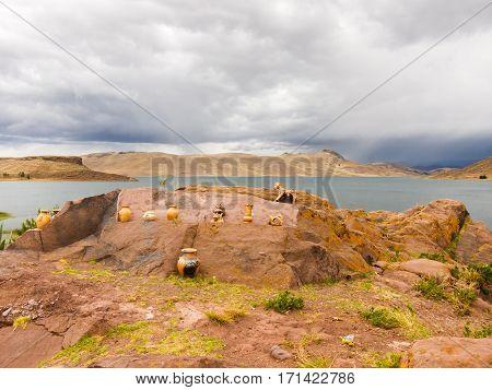 Tombs of Sillustani by Lake Umayo near Puno, Bolivia